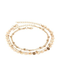 Shining Paillettes Summer Beach Fashion Women Anklet - Golden