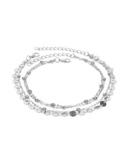 Shining Paillettes Summer Beach Fashion Women Anklet - Silver