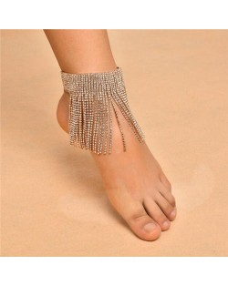 Shining Rhinestone Tassel Design Party Fashion Women Anklet - Golden