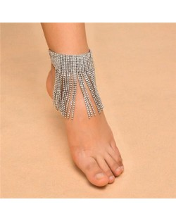 Shining Rhinestone Tassel Design Party Fashion Women Anklet - Silver