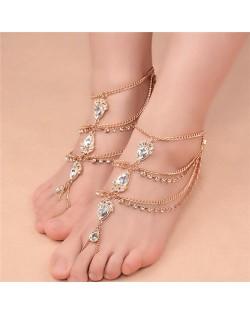 Glistening Waterdrop Rhinestone Embellished Folk Style Women Anklet - Golden