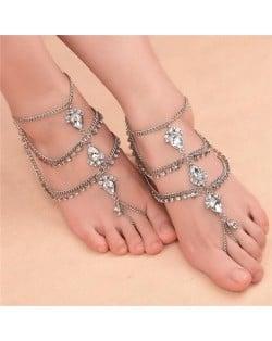 Glistening Waterdrop Rhinestone Embellished Folk Style Women Anklet - Silver