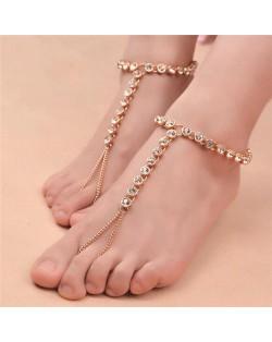 Rhinestone Embellished High Fashion Women Alloy Anklet - Golden