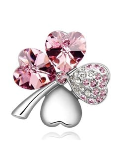 Austrian Crystal and Czech Stones Four Leaf Clover Brooch - Pink