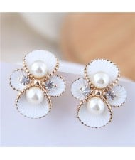 Golden Rimmed Oil-spot Glazed White Flower Fashion Costume Earrings