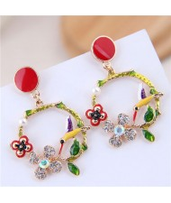 Bird and Flower Hoop Fashion Oil-spot Glazed Women Fashion Earrings - Red