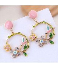 Bird and Flower Hoop Fashion Oil-spot Glazed Women Fashion Earrings - Pink