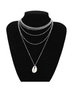 Tribe Style Seashell Multi-layer Chain Fashion Women Costume Necklace - Silver