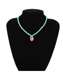 Tribe Style Colorful Seashell Turquoise Beads Chain Women Fashion Costume Necklace
