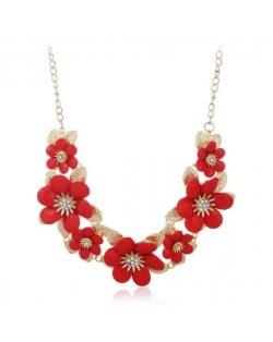 Rhinestone Inlaid Elegant Flowers Women Fashion Alloy Costume Necklace - Red