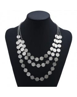 Rhinestone Inlaid Elegant Flowers Women Fashion Alloy Costume Necklace - Black