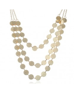 Glistening Paillettes Multi-layer Design High Fashion Alloy Costume Necklace - Golden
