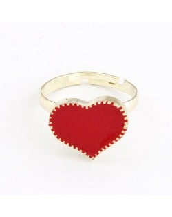 Oil-spot Glazed Sweet Heart Women Fashion Ring - Red