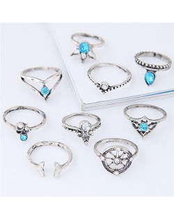 Vintage Star Fashion 9 pcs Fashion Ring Combo - Silver