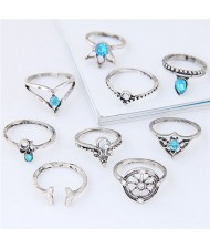 Vintage Star Fashion 9 pcs Fashion Ring Combo - Silver