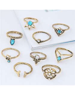 Vintage Star Fashion 9 pcs Fashion Ring Combo - Golden
