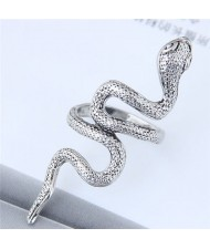 Vintage Silver Snake Design Women Fashion Ring