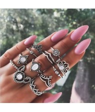 Multiple Elements Vintage Women Rings Combo