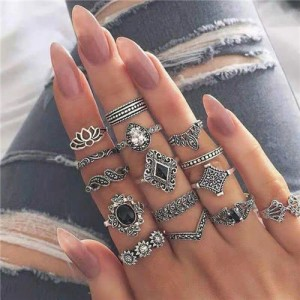 Vintage Floral Fashion Women Rings Combo