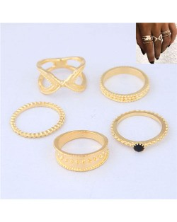 Street High Fashion 5pcs Women Rings Combo