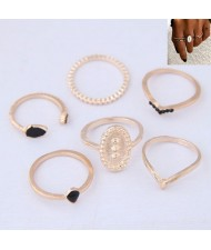 Concise Fashion 6pcs Women Rings Combo