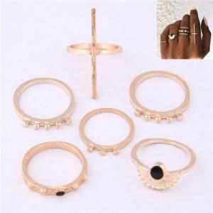 High Fashion 6pcs Golden Women Rings Combo