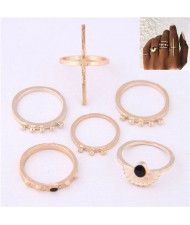 High Fashion 6pcs Golden Women Rings Combo