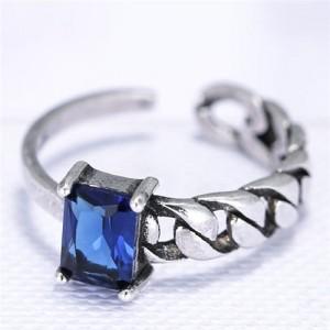 Cubic Zirconia Embellished Vintage Fashion Copper Ring - Ink Blue