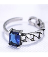 Cubic Zirconia Embellished Vintage Fashion Copper Ring - Ink Blue