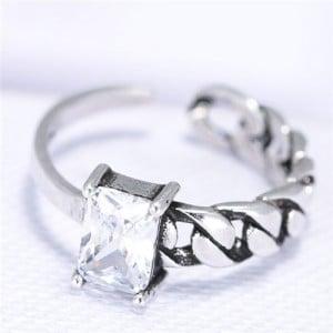 Cubic Zirconia Embellished Vintage Fashion Copper Ring - White