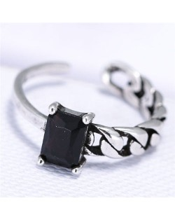 Cubic Zirconia Embellished Vintage Fashion Copper Ring - Black
