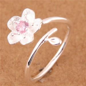 Sweet Flower Open-end Fashion Women Copper Ring