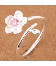 Sweet Flower Open-end Fashion Women Copper Ring