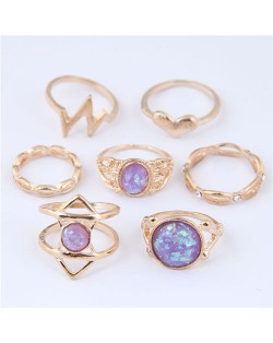 Gems Inlaid Bolts Fashion 7pcs Women Rings Combo