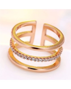 Cubic Zirconia Inlaid Korean Fashion Open-end Style Women Ring - Rose Gold