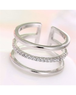 Cubic Zirconia Inlaid Korean Fashion Open-end Style Women Ring - Silver