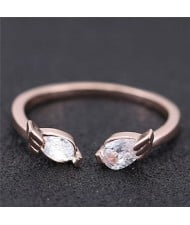 Cubic Zirconia Inlaid Angel Wings Korean Fashion Women Ring - Rose Gold