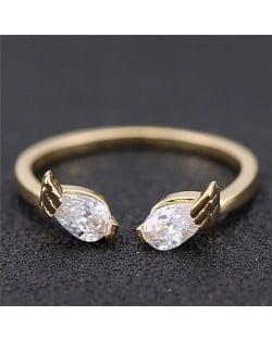 Cubic Zirconia Inlaid Angel Wings Korean Fashion Women Ring - Golden
