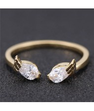 Cubic Zirconia Inlaid Angel Wings Korean Fashion Women Ring - Golden