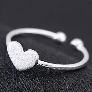 Plain Sweet Heart Design Copper Women Fashion Ring