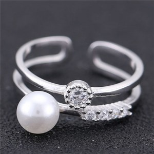 Cubic Zirconia and Pearl Embellished Open-end Design Women Fashion Ring