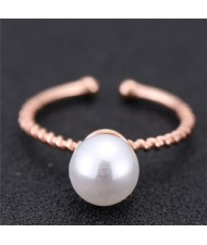 Pearl Inlaid Sweet Fashion Korean Style Women Ring