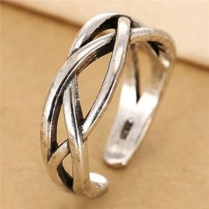 Weaving Style Vintage Fashion Open-end Design Women Ring