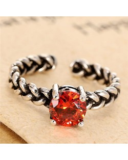Red Cubic Zirconia Inlaid Vintage High Fashion Ring