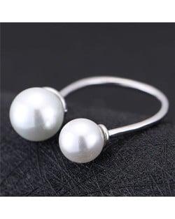 Asymmetric Pearls Embellished Women Fashion Ring