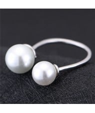 Asymmetric Pearls Embellished Women Fashion Ring