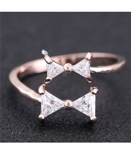 Cubic Zirconia Twin Bowknot Open-end Design Women Fashion Ring - Rose Gold
