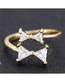 Cubic Zirconia Twin Bowknot Open-end Design Women Fashion Ring - Golden