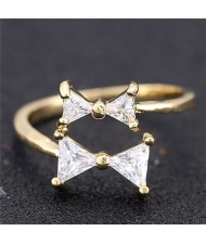 Cubic Zirconia Twin Bowknot Open-end Design Women Fashion Ring - Golden