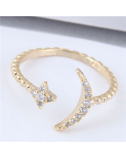 Cubic Zirconia Embellished Moon and Star Fashion Open-end Design Copper Ring